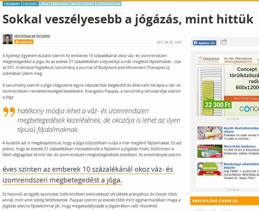 Reakció az index.hu a jóga káros hatásáról írt cikkére. 3